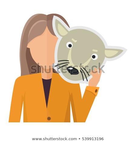 Mulher jaqueta lobo máscara mão Foto stock © robuart