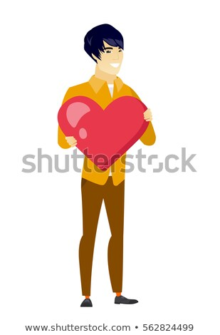grande · vermelho · coração · isolado · branco · amor - foto stock © rastudio