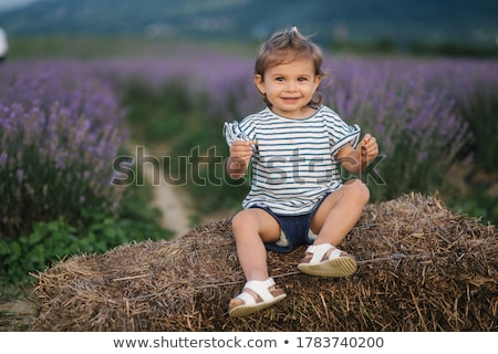 Meisje Blauw witte gestreept illustratie glimlach Stockfoto © bluering