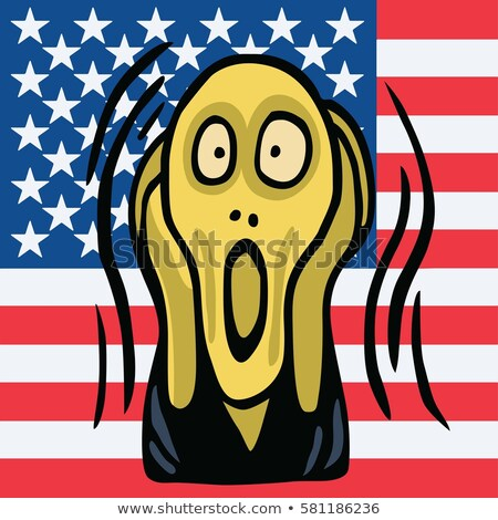 Clipart Of The Screaming Head Vector with American Flag Background. Vector Illustration Stock photo © doddis