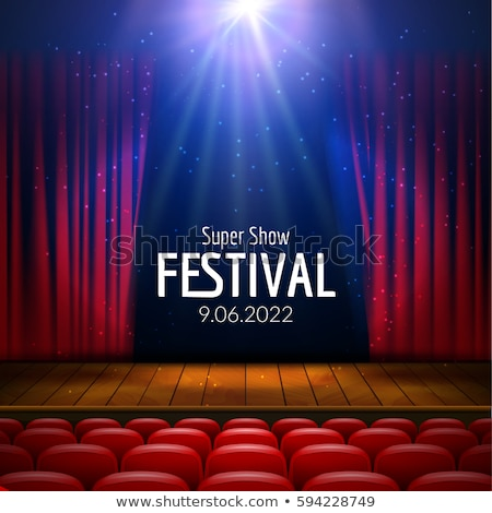 Stockfoto: Theater Or Stage Template For Show Premier With Seat And Wooden