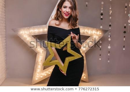 ストックフォト: エレガントな · ブルネット · ドレス · ファッション
