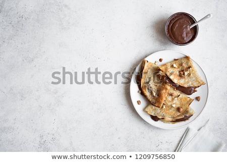 Crêpe chocolade achtergrond cake ontbijt geïsoleerd Stockfoto © M-studio