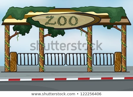 állatkert bejárat fa fű illusztráció természet Stock fotó © bluering