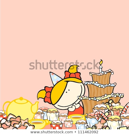 Photo stock: Joyeux · anniversaire · carte · modèle · cookie · chapeau · illustration