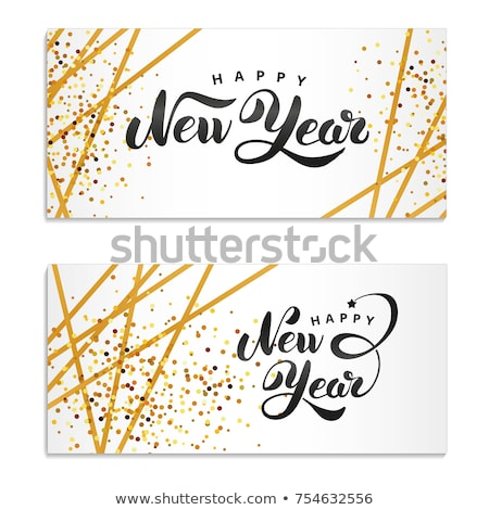 Stock fotó: Christmas And New Year Line Art Icon Greeting Card