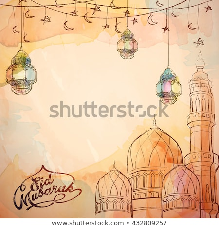abstract eid mubarak background with ink strokes Stock photo © SArts