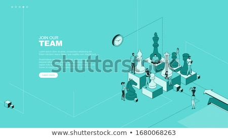 Black horse chess piece isometric, vector illustration. stock photo © kup1984