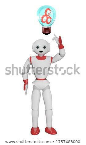 Mechanic pointing at bright idea light bulb. Stock photo © RAStudio
