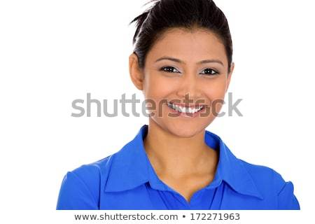 Closeup shot portrait of a smiling customer service girl isolated on white background Stock photo © Nobilior