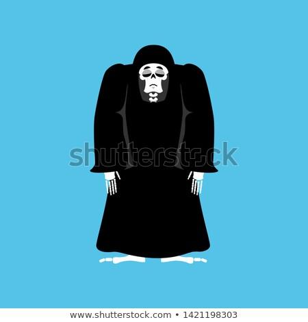 Grim reaper sad. death depression. skeleton in black cloak sorro Stock photo © popaukropa