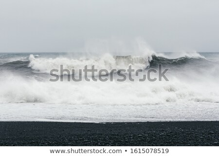Ozean Strand schwarz Sand schönen Schaum Stock foto © Kotenko