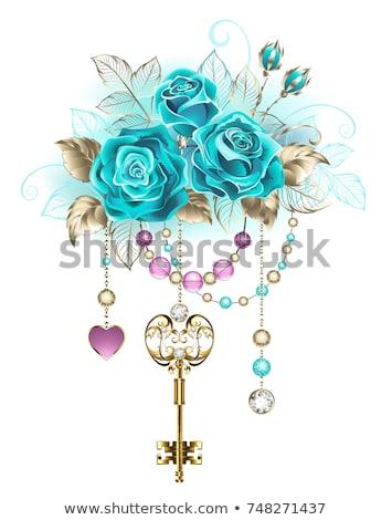 Turquoise roses with keys Stock photo © blackmoon979
