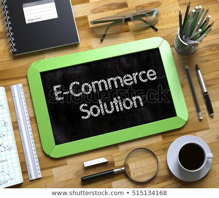 E-Commerce Solution on Small Chalkboard. 3D. Stock photo © tashatuvango