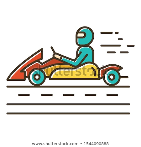 Stock photo: Karting Go Cart race vehicle with a driver illustration clip-art