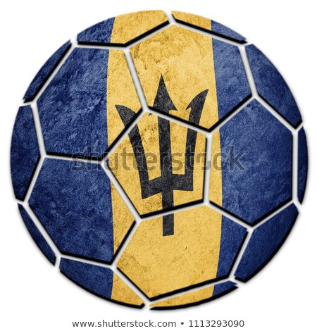 Voetbal vlammen vlag Barbados zwarte 3d illustration Stockfoto © MikhailMishchenko