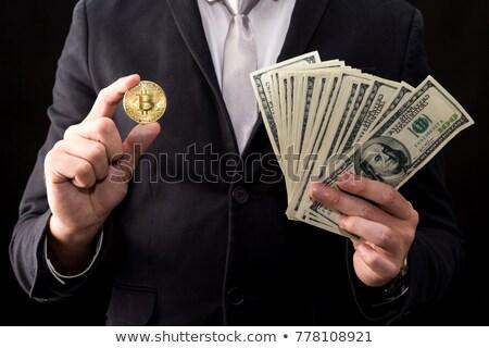 Homem bitcoin mão um manter Foto stock © compuinfoto