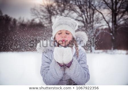 Kid Mädchen Schnee Engel Schlag Illustration Stock foto © lenm