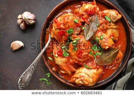 Poulet filet sauce tomate alimentaire feuille dîner Photo stock © M-studio