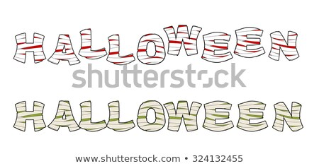 Halloween Mummy text. Letters wrapped medical bandages. Egyptian Stock photo © popaukropa