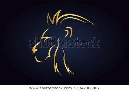 oroszlán · fej · tetoválás · macska · felirat · portré - stock fotó © krisdog