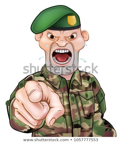 указывая солдата Cartoon жесткий глядя Сток-фото © Krisdog
