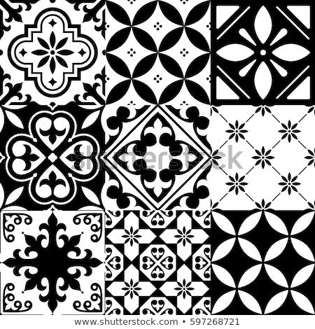 Stock photo: Portuguese tiles Azulejos, seamless vector tile pattern, geometric and floral design - black, white