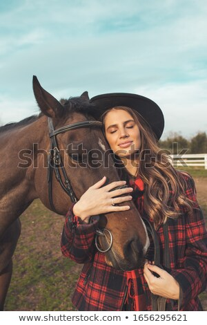 beautiful girl with horse Stock photo © svetography