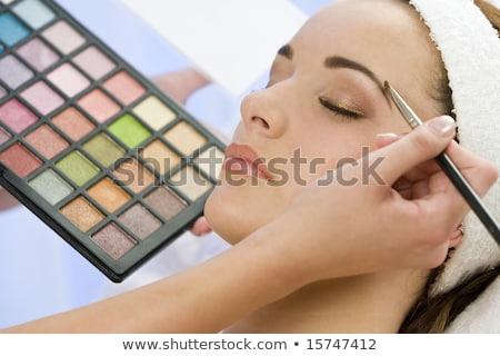 Foto stock: Mulher · jovem · batom · mulher · mulheres · pintura · estúdio
