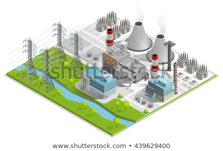 Elektrownia izometryczny 3D ciężki przemysłu Zdjęcia stock © studioworkstock