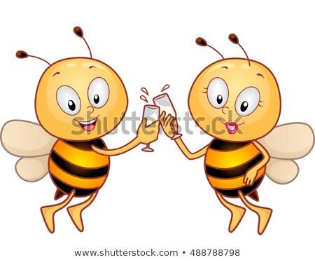 mascot bee couple toast stock photo © lenm