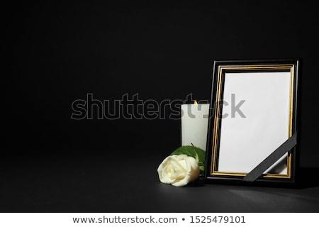черный · лента · цветок · свечей · похороны - Сток-фото © dolgachov