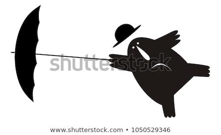 człowiek · parasol · wiatr · ilustracja · odizolowany - zdjęcia stock © tiKkraf69