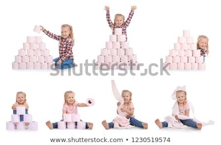 Meisje toiletpapier meisje jeugd vrouwelijke gevaar Stockfoto © IS2