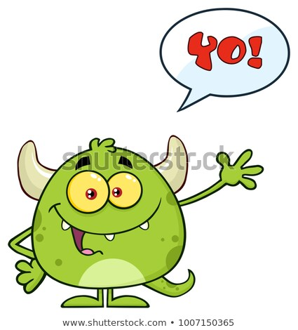 Felice verde mostro cartoon carattere Foto d'archivio © hittoon