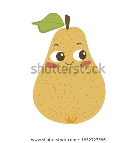 Сток-фото: счастливым · желтый · груши · фрукты · зеленый · лист · мультфильм · талисман