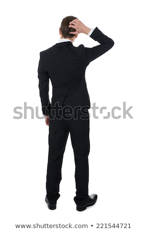 back view of businessman scratching his head and thinking Stock photo © feedough
