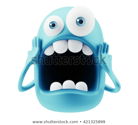 scared cartoon funny face with panic expression stock photo © hittoon