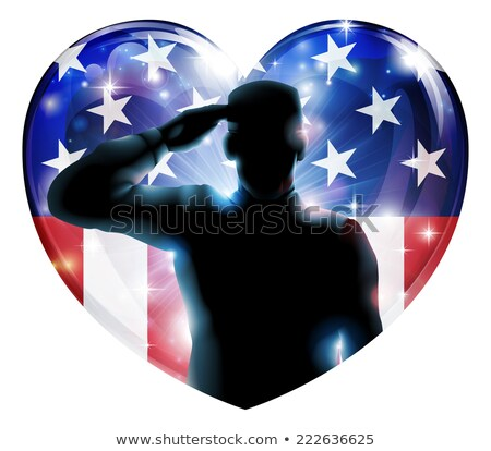 Hazafias katona amerikai zászló szív szeretet boldog Stock fotó © Krisdog