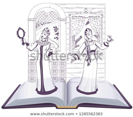 russian tales of pushkin open book illustration stock photo © orensila