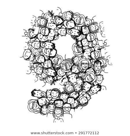 Numero nove uomini d'affari silhouette alfabeto pop art Foto d'archivio © studiostoks