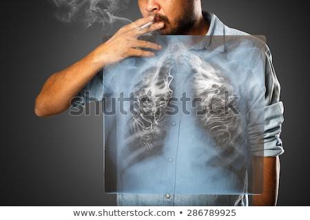 akciğer · kanseri · tehlikeli · solunum · hastalık · adam · solunum - stok fotoğraf © bluering