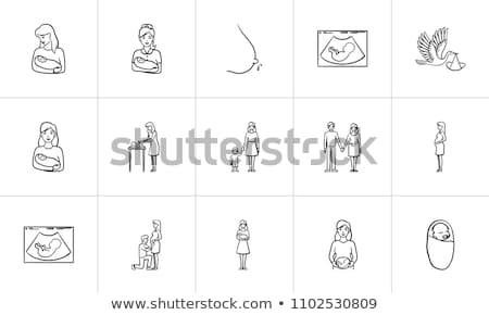 ストックフォト: 母親 · 子 · 手描き · いたずら書き