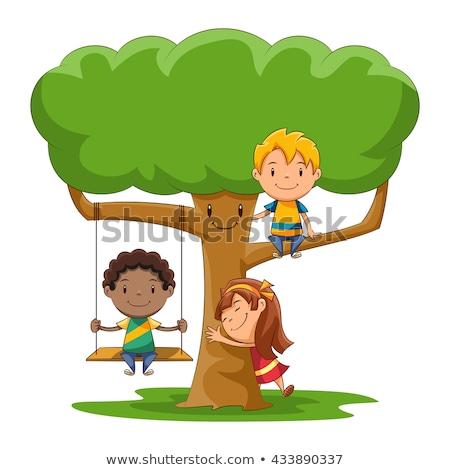 Children Sitting on Tree Swing Stock photo © bluering