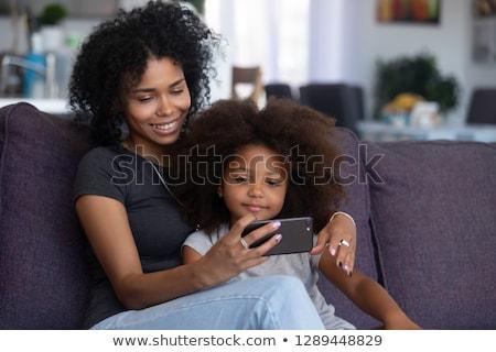 african american cartoon selfie girl with smartphone stock photo © voysla
