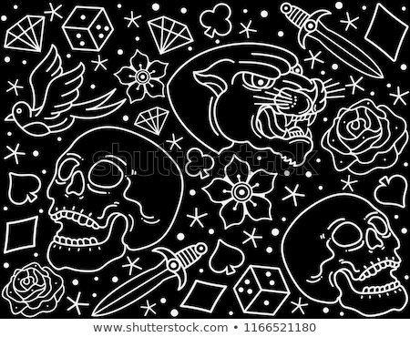 flash tattoo style black doodles seamless vector pattern stock photo © yopixart