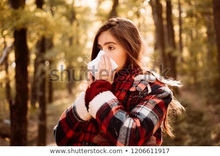 mulher · frio · gripe · ruim · outono · tempo - foto stock © ichiosea