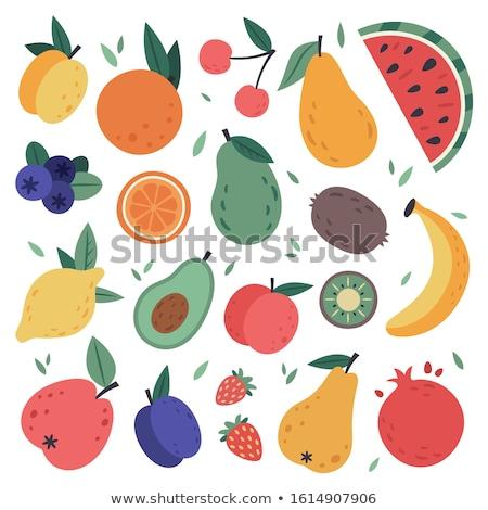 Pomegranate whole fresh juicy fruit isolated. Vector illustratio Stock photo © MaryValery