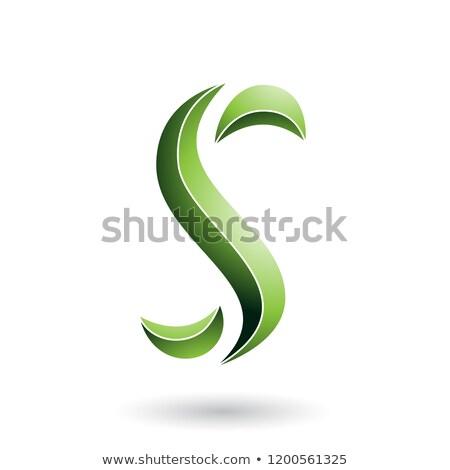 Yeşil çizgili yılan mektup vektör Stok fotoğraf © cidepix