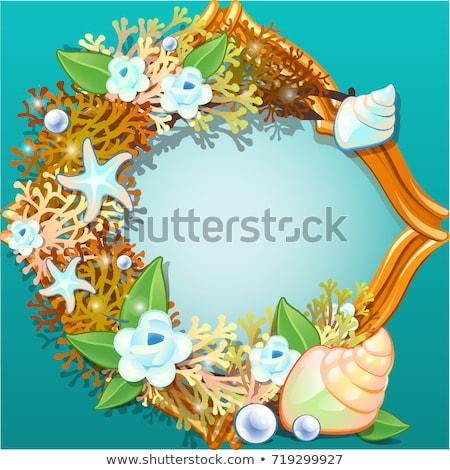Altın çerçeve süs deniz kabukları denizyıldızı Stok fotoğraf © Lady-Luck